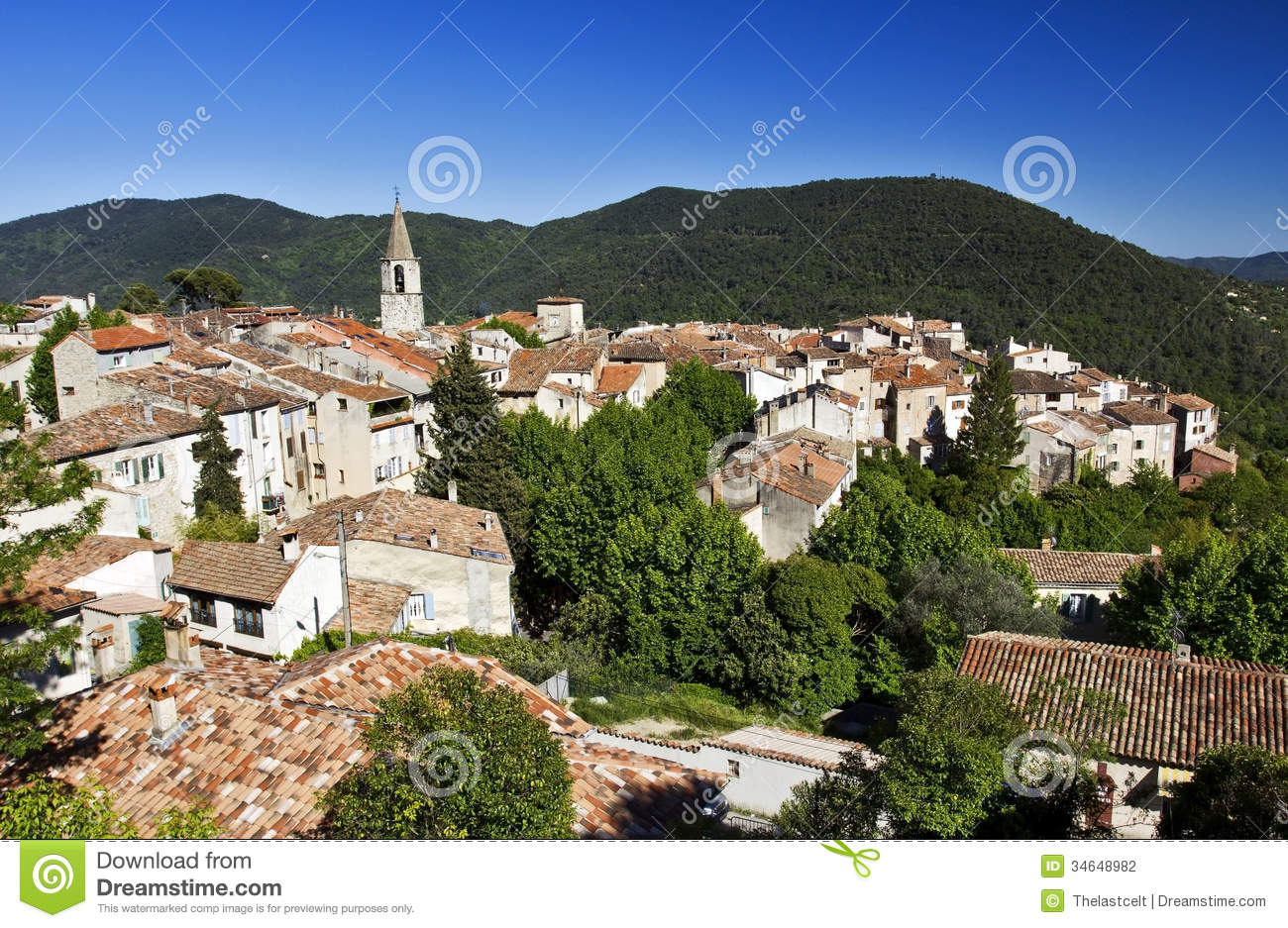 Roof Top Bargemon The Var France Stock Photography