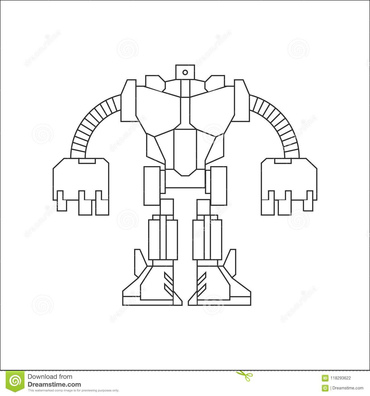 Robot Line Art Stock Vector Illustration Of Umbrella 118293622 Roof Truss Diagram