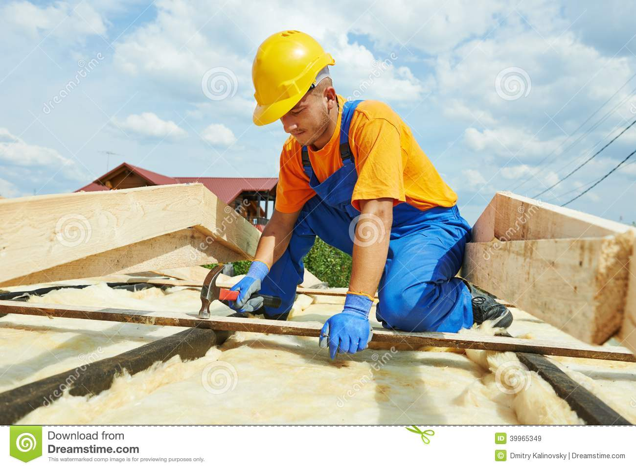 Cartoon Roofing Installation : Roofer on roof ice shield tar paper shingles stock photo