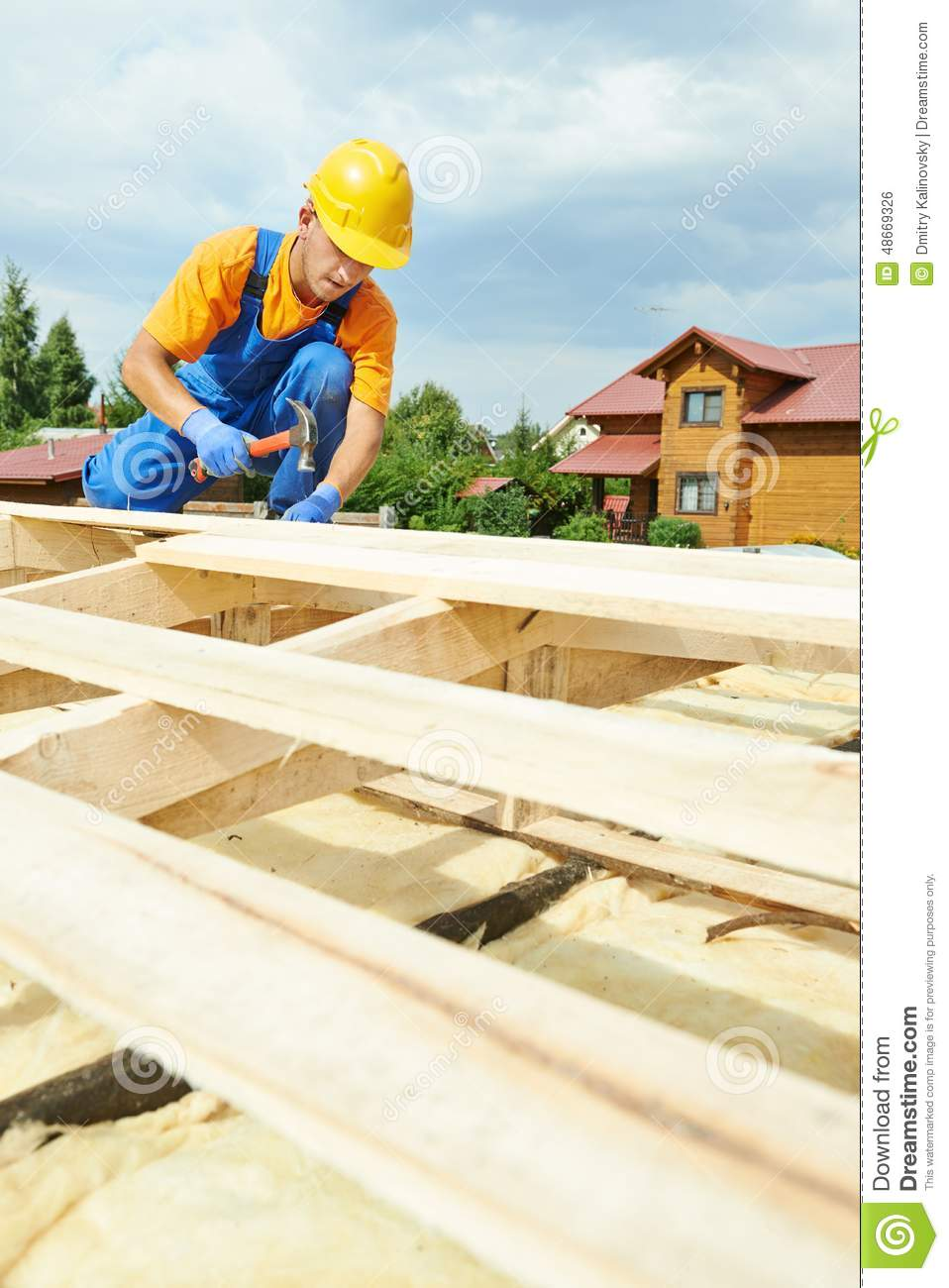 Roofer On Roof Ice Shield Tar Paper Shingles Stock Photo