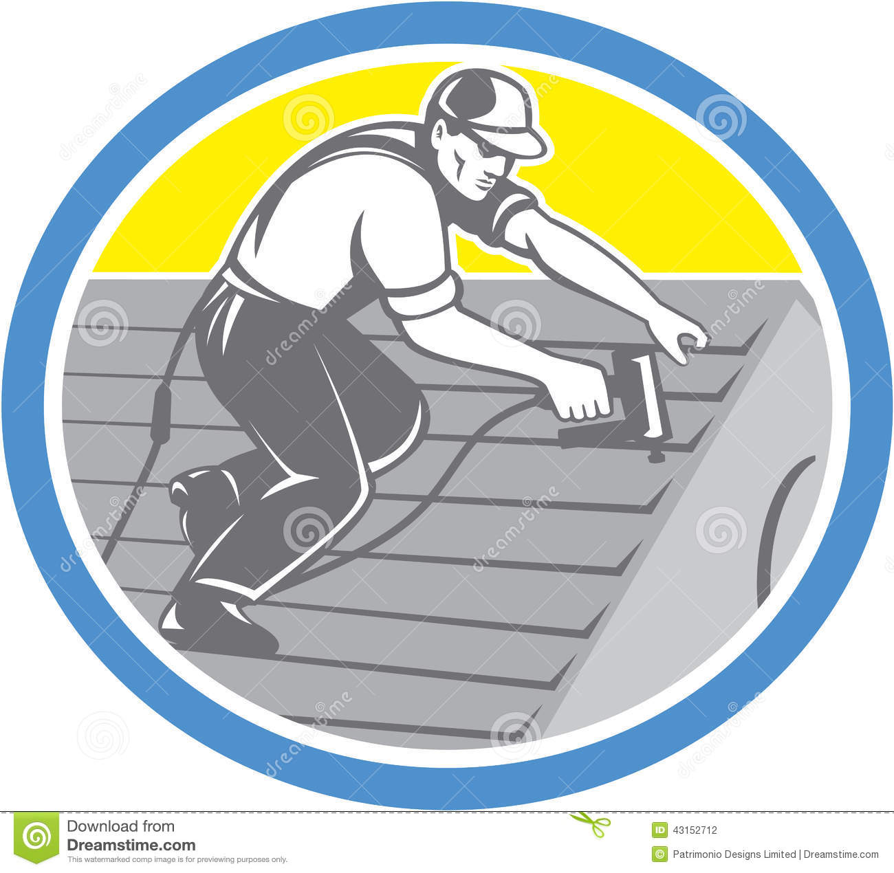 Roofer Roofing Worker Circle Retro Stock Vector Image