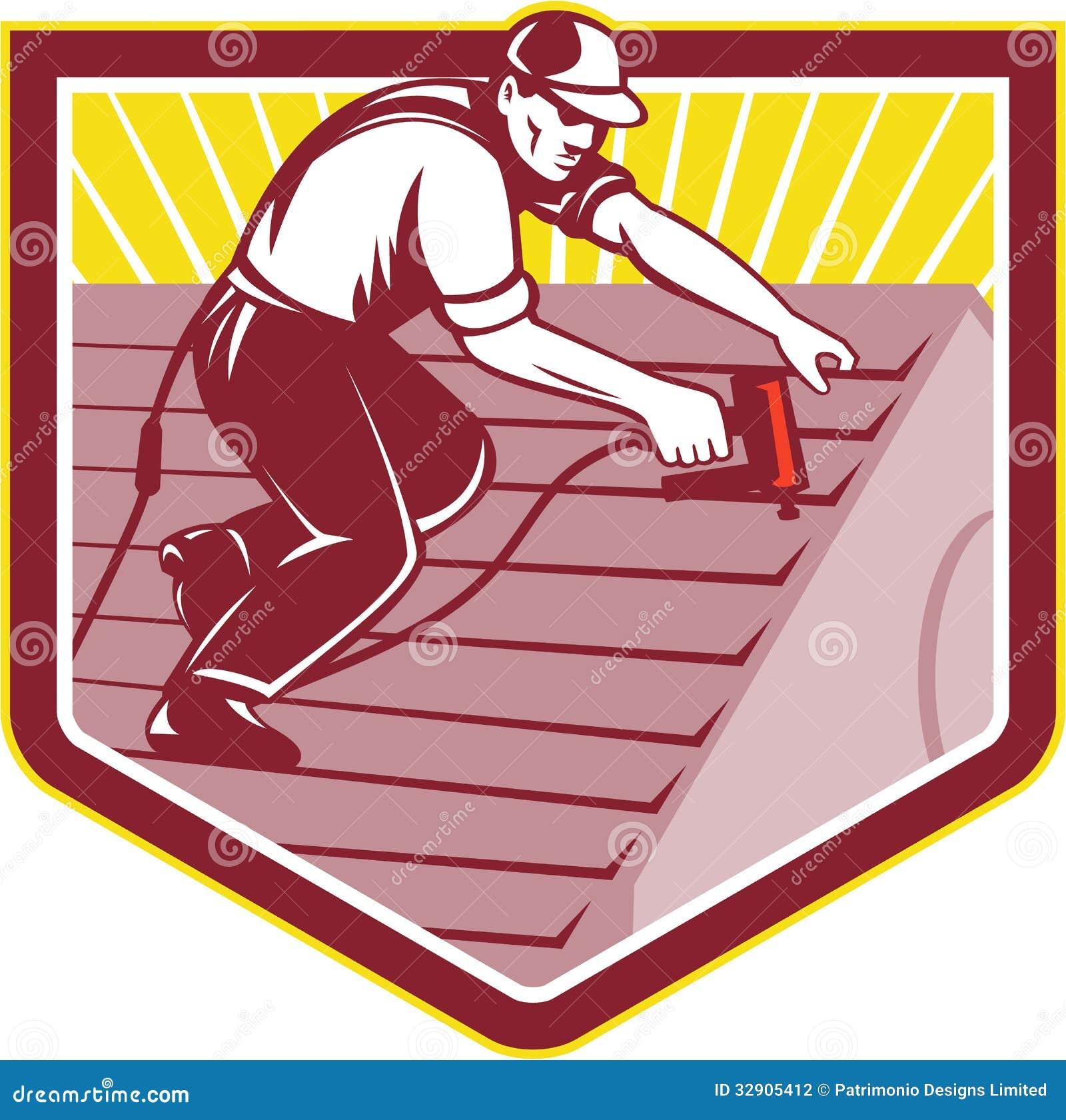 Roofer Roofing Worker Retro Stock Vector Image 32905412