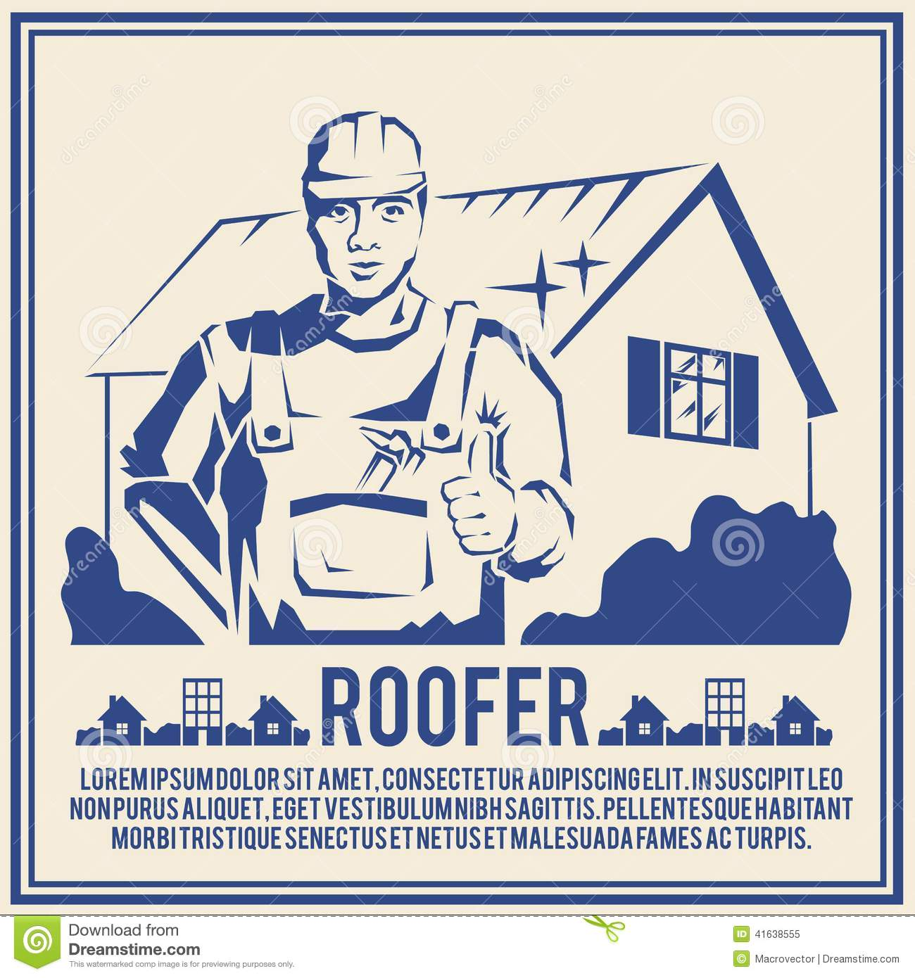 Roofer house builder male tradesman worker silhouette poster vector    Roofer Vector