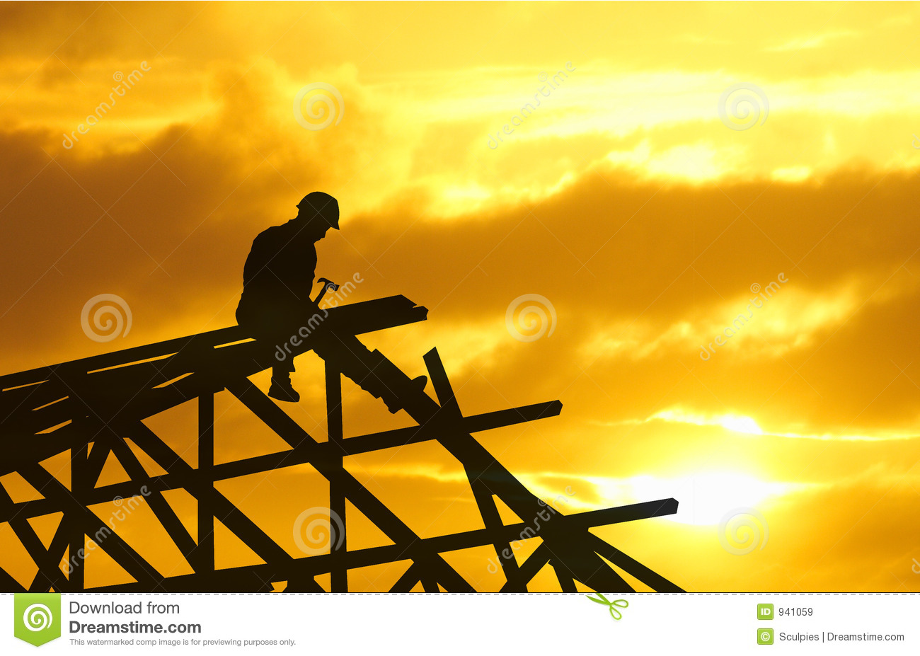 Roofer Silhouette Sunset Royalty Free Stock Images - Image: 941059