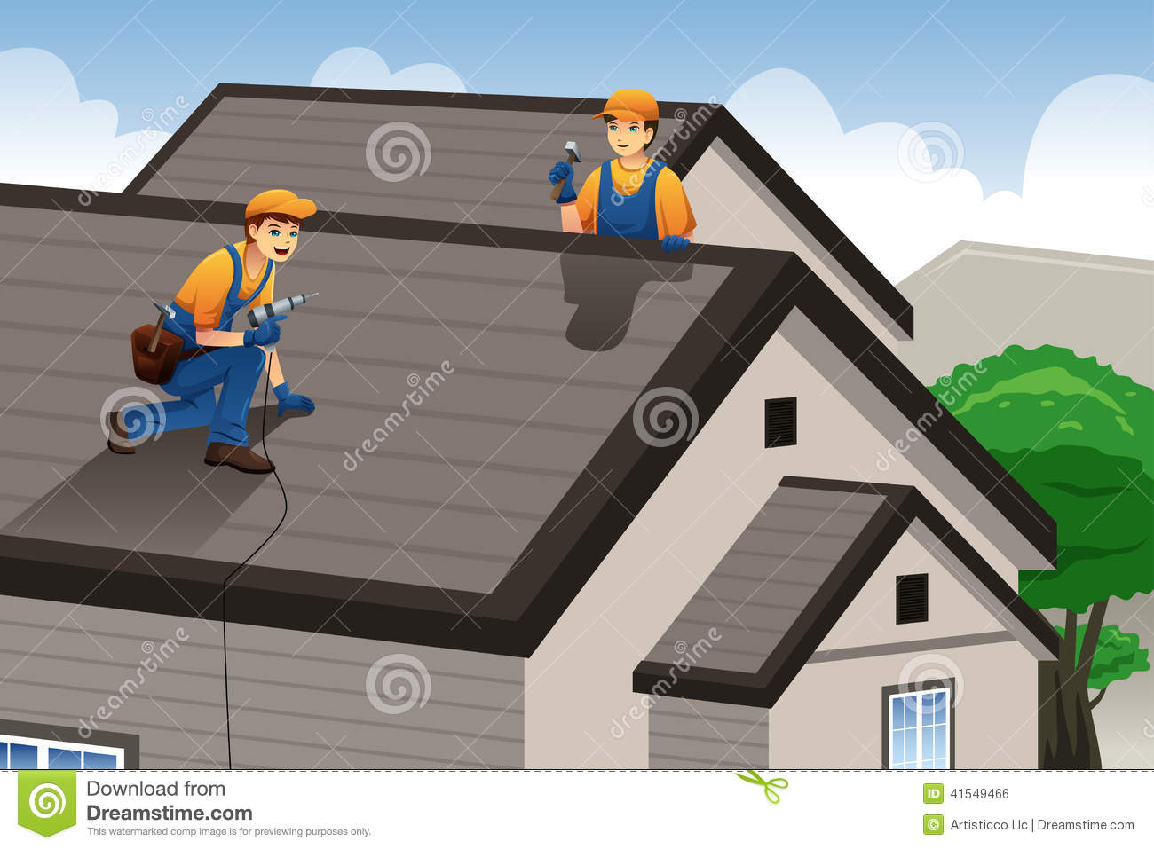 vector illustration of roofer working on the roof of a house Roofer Vector