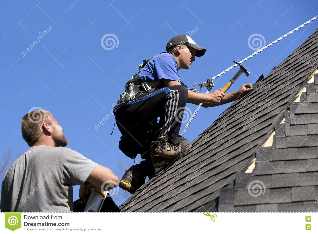 Roofers on a Steep Pitch