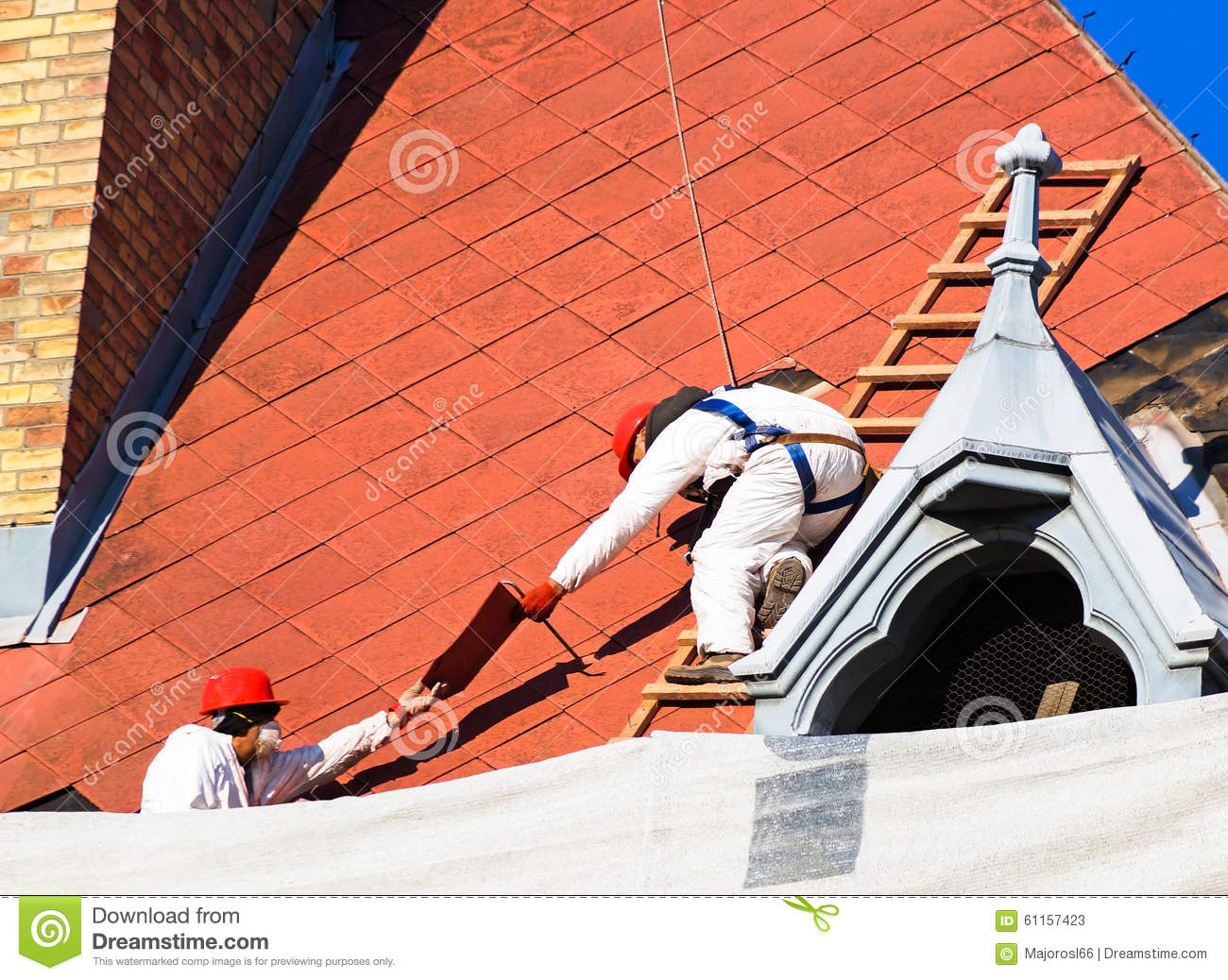 Roofers are working