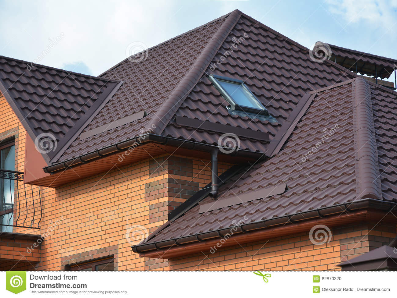 Roofing Construction With Attic Skylights, Rain Gutter
