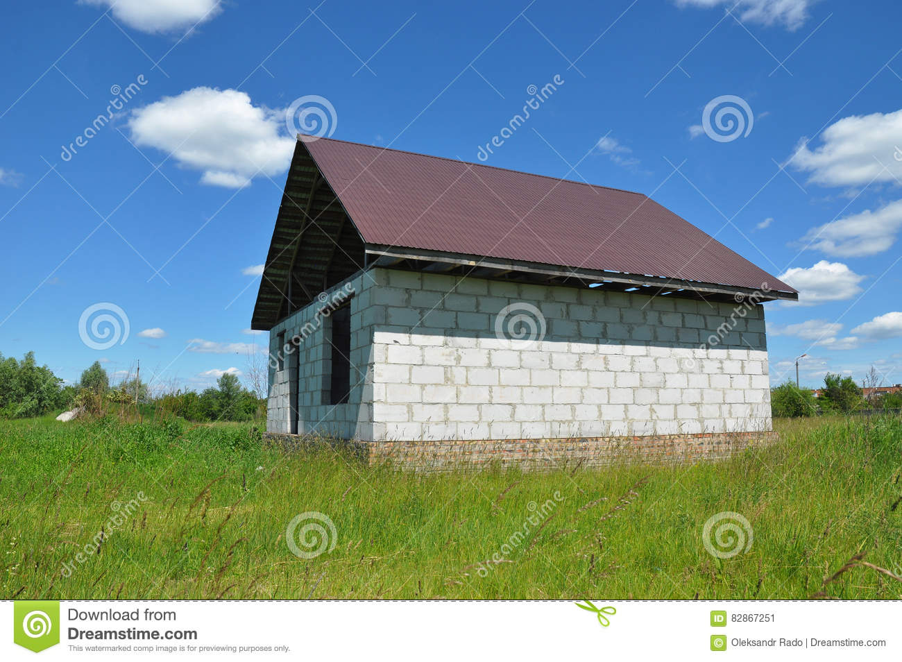 New home house exterior stock image for Process of building a new house