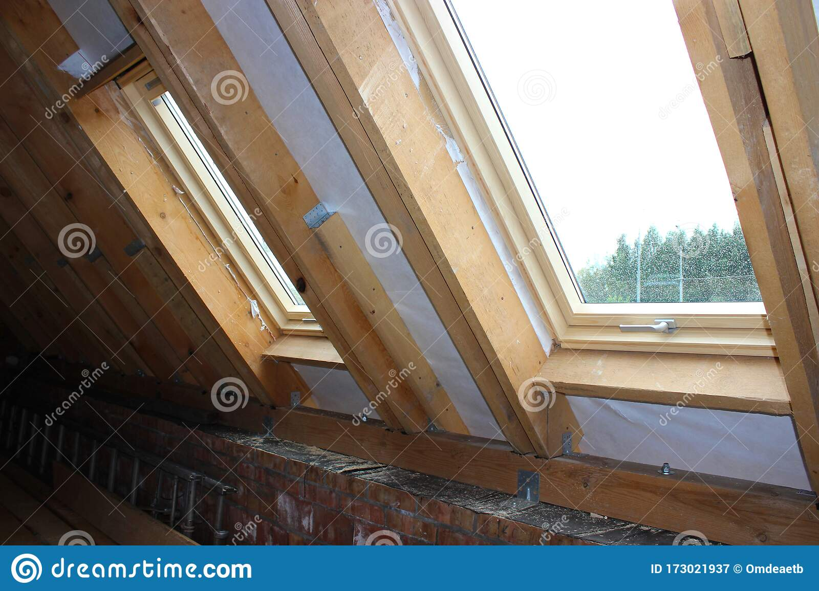 Roofing Construction And Building New House With Skylights New Brick House With Chimney Modern Roof Skylight Attic Skylights Stock Image Image Of Cover Background 173021937