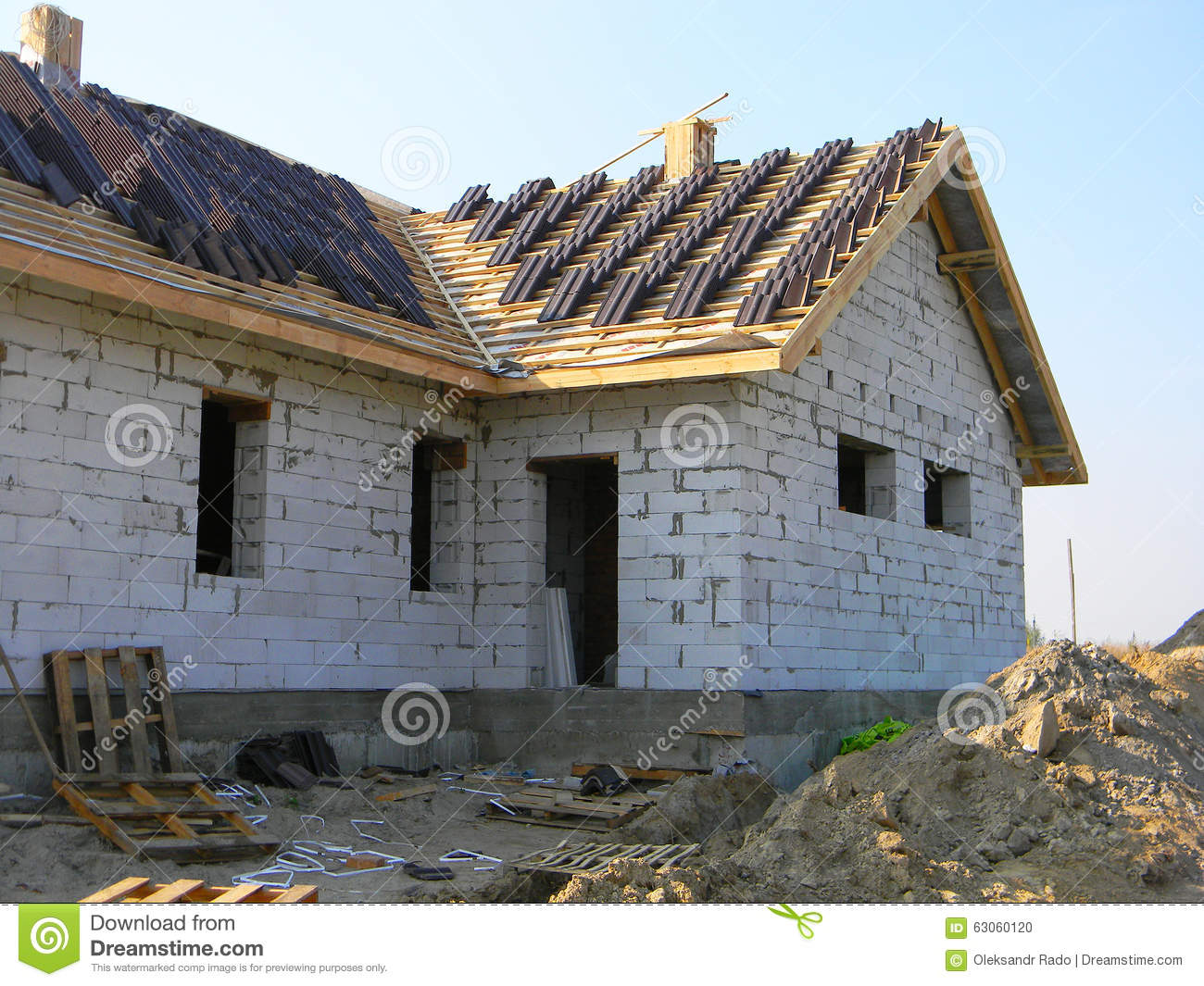 Roofing construction brick house work outdoor stock photo for House roof construction