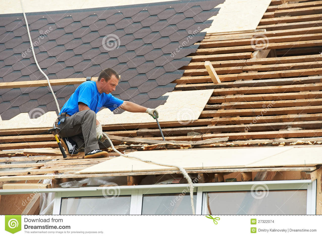 Roofing Work With Flex Roof Stock Images Image 27322074