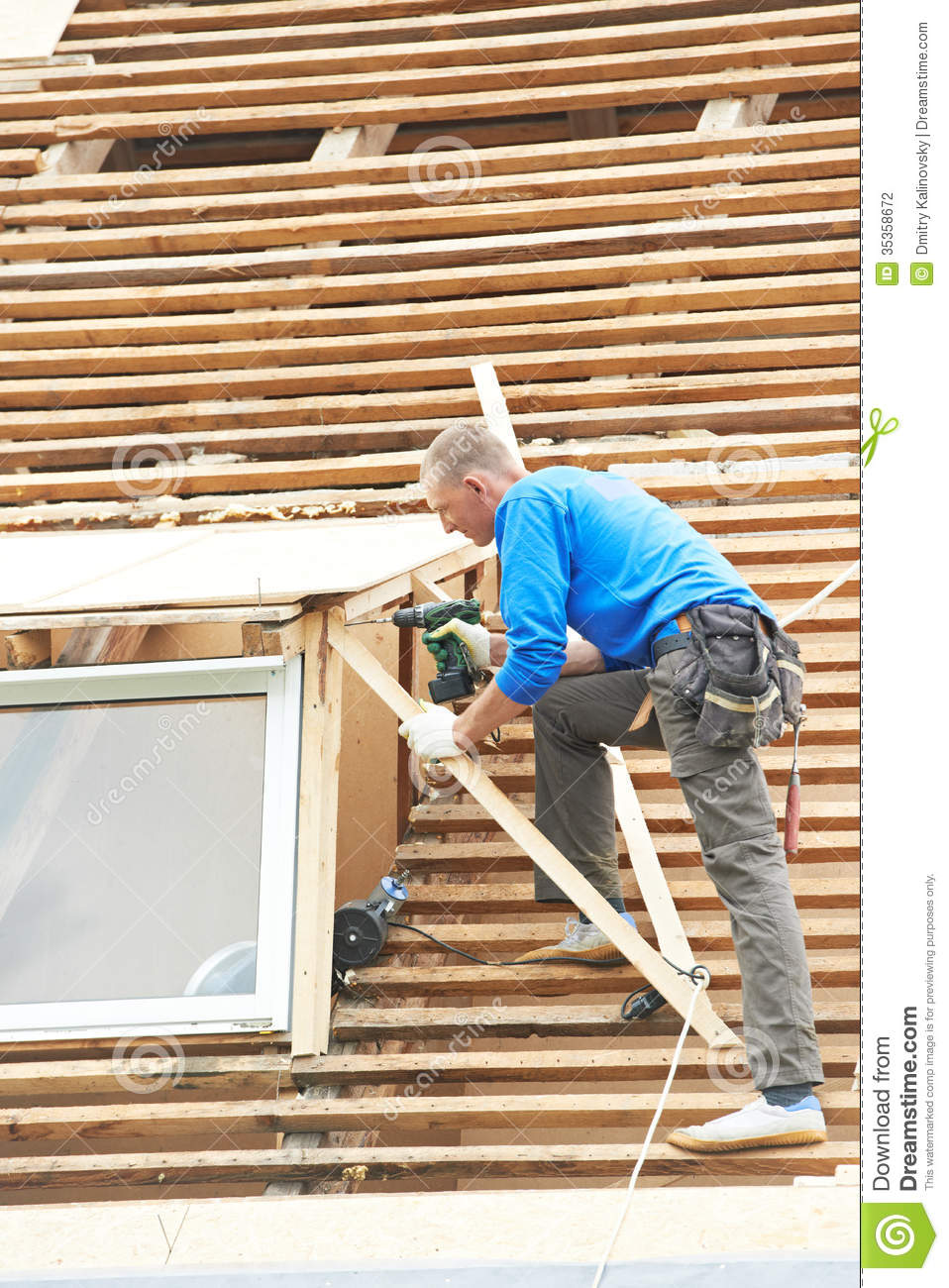 Roofing work with flex roof stock photography image for Flexible roofing material
