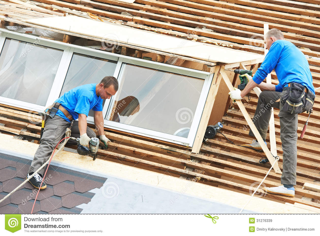 Roofing work with flex roof stock image image of for Flexible roofing material