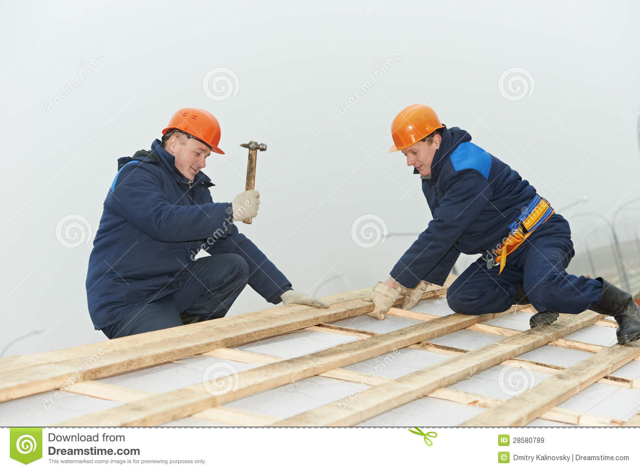 Roofing Workers Hammer Roof Boarding Stock Image Image