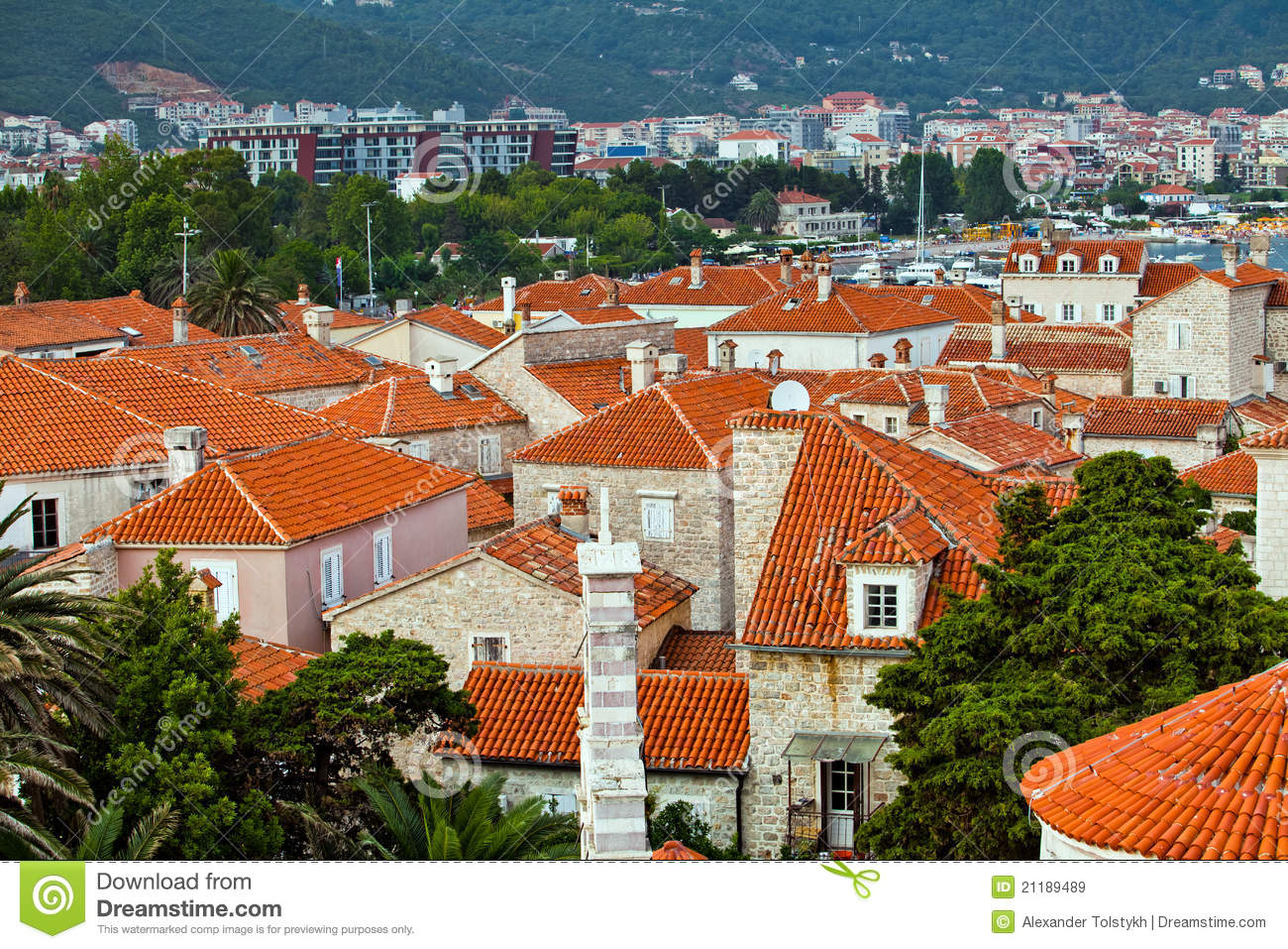 The roofs of old town Budva, Montenegro