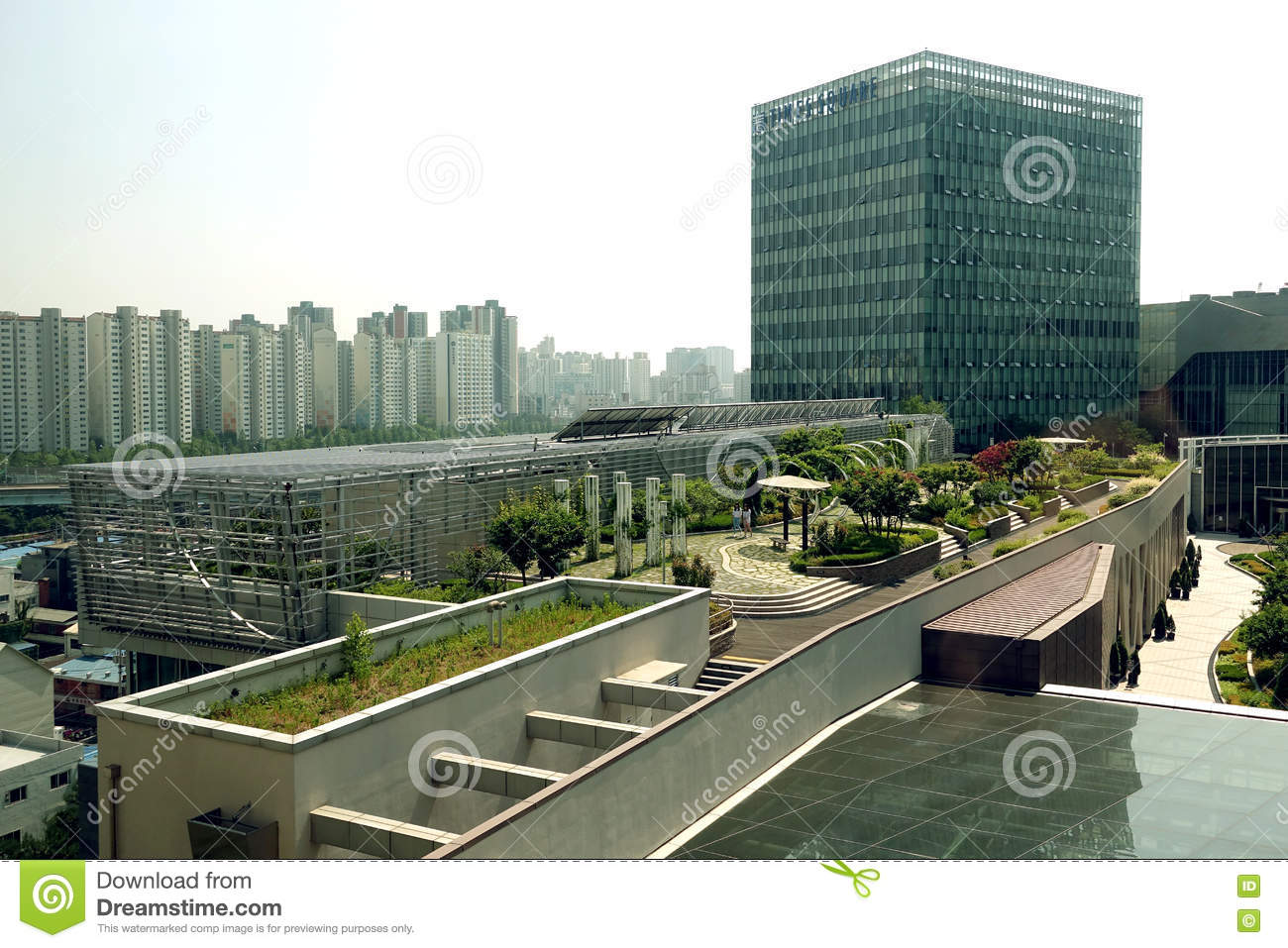 Rooftop gardens seoul south korea editorial photo for Best garden office buildings