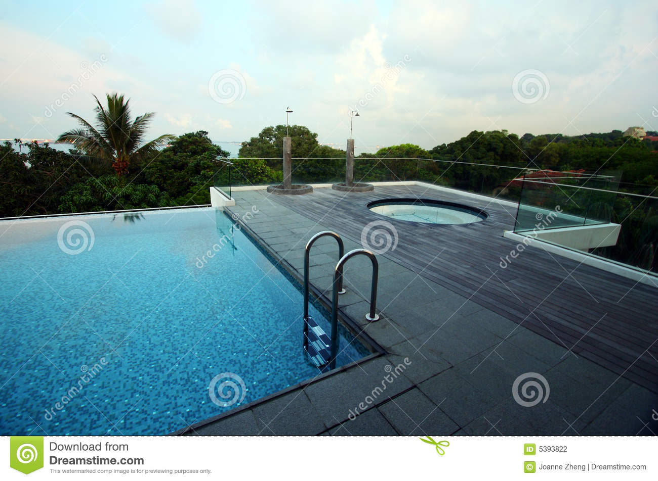 Rooftop infinity pool of resort, with jacuzzi
