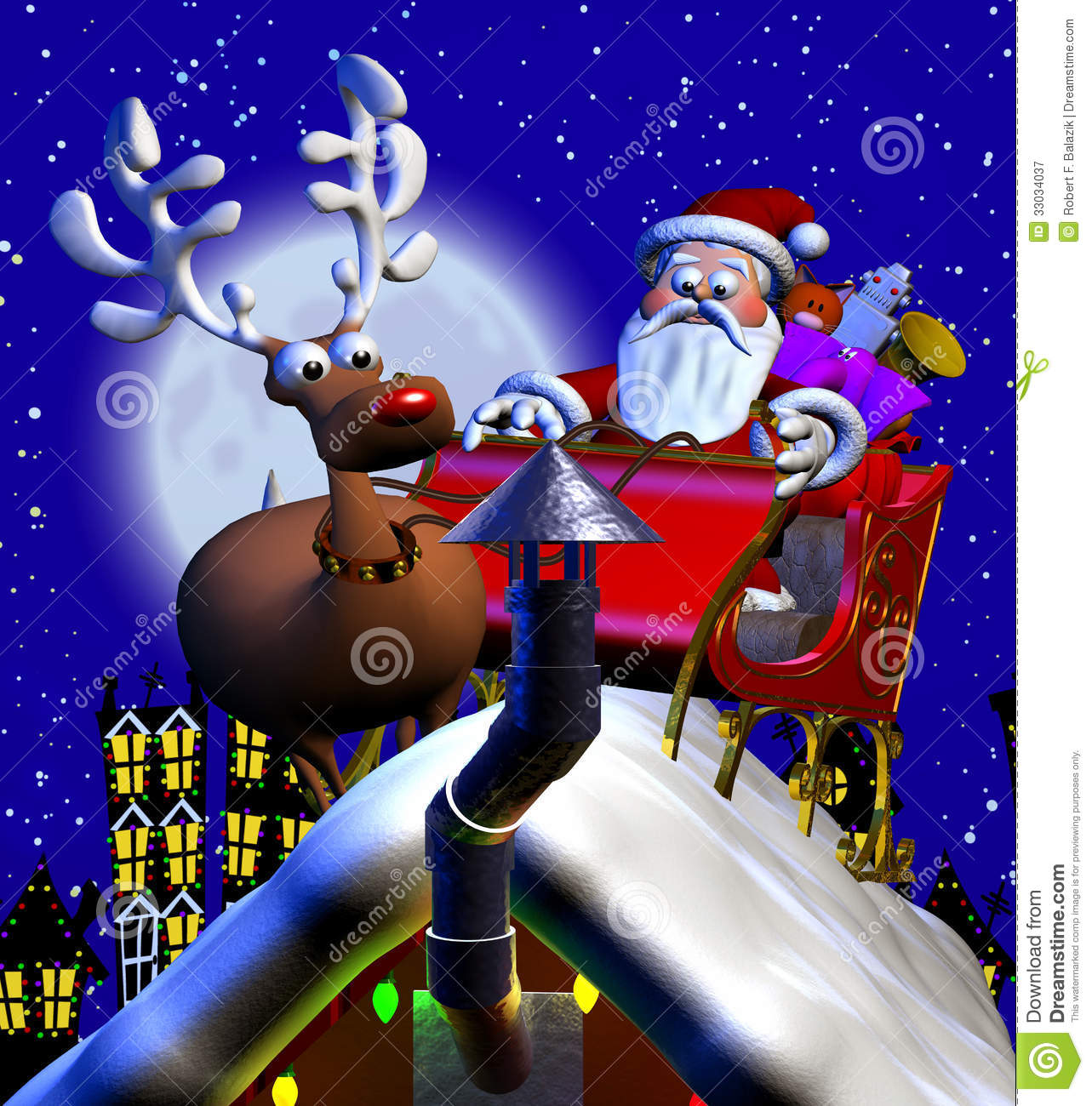 Computer-generated 3D cartoon illustration depicting Santa Claus on a ...