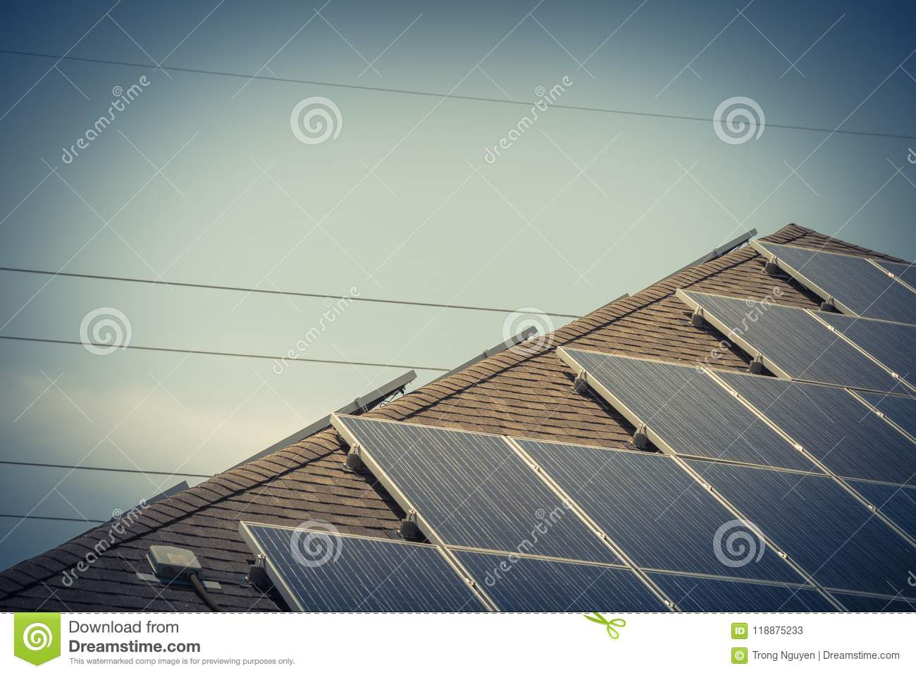 Rooftop Solar Panel System With Junction Box And Electrical Wire Wiring Download Stock Image Of