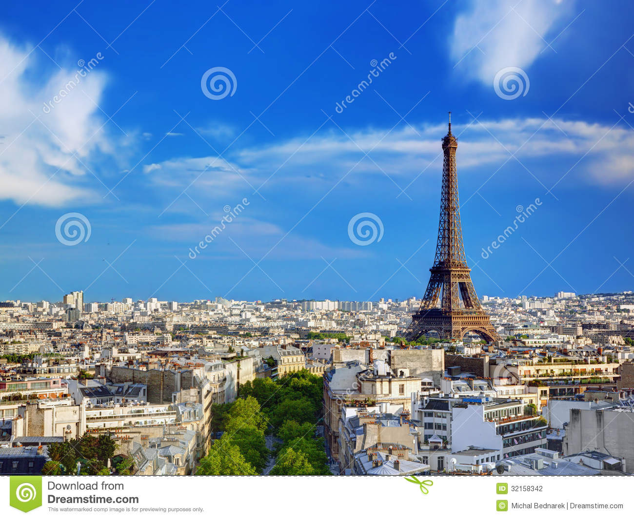 Rooftop View On The Eiffel Tower, Paris, France Stock ...