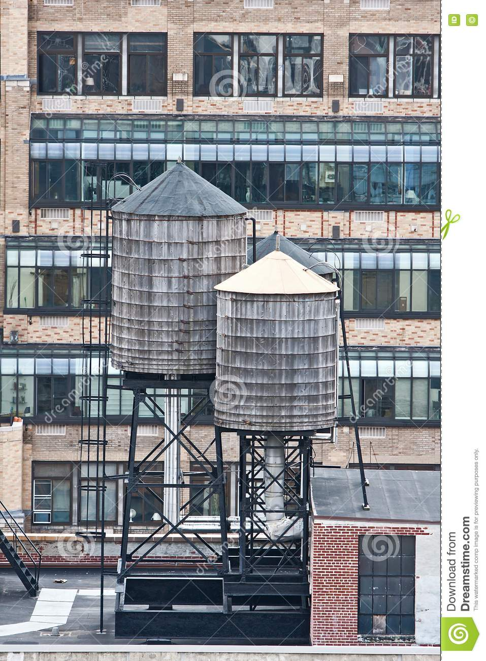 Rooftop Water Towers On Nyc Buildings Stock Photo Image