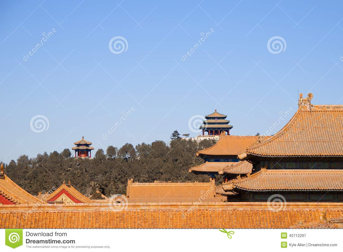 Download Rooftops Of Buildings Within The Forbidden City With Chinese Pagodas In The Background Stock Image - Image of pagoda, building: 40712297
