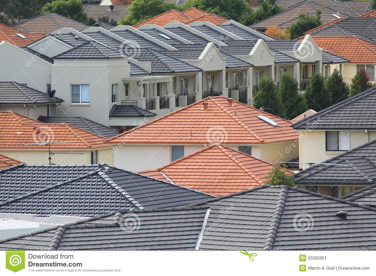Rooftops of modern homes stock image image of housetops for Tetti di case moderne