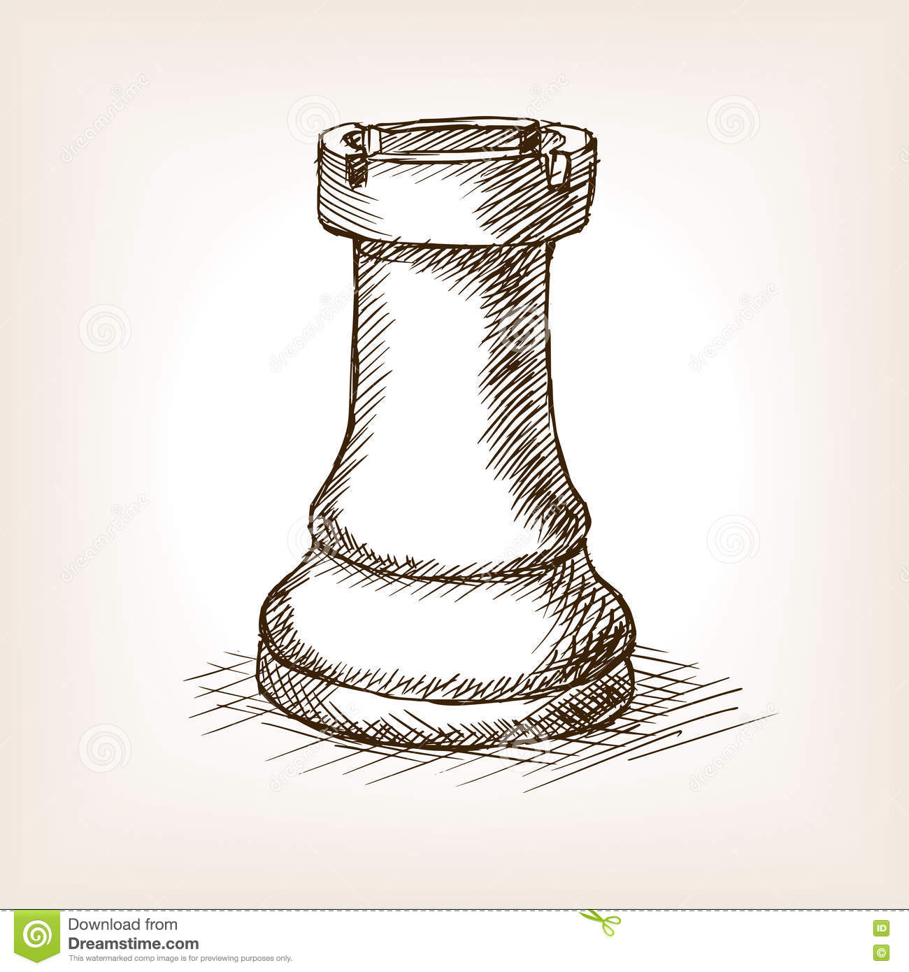 Stock Illustration Rook Chess Piece Hand Drawn Sketch Style Vector ...