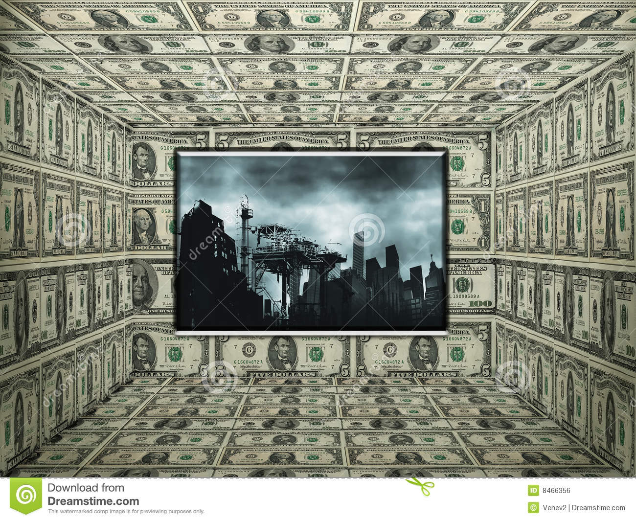 Room In The American Money Notes Royalty Free Stock Image