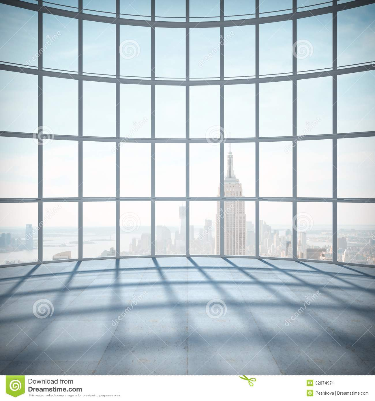 Room With Big Window Stock Image Image Of Render