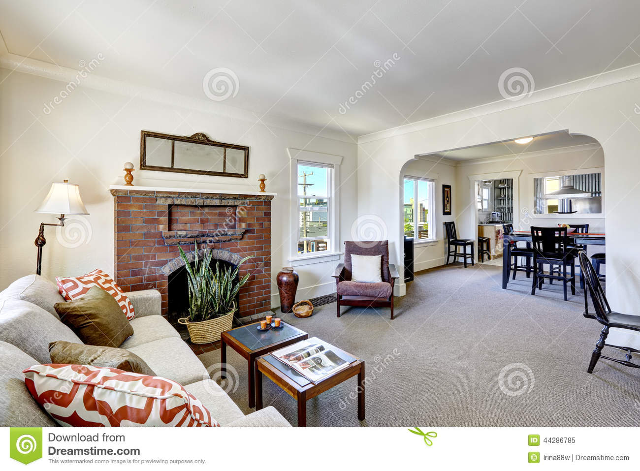 Room with brick fireplace in old american house stock for American house interior decoration