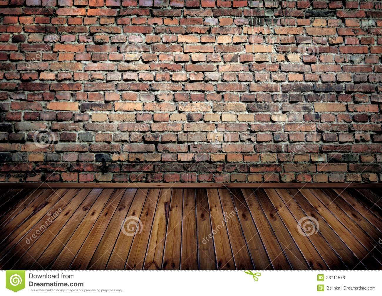 Room With Brick Wall And Wooden Floor Stock Photo Image