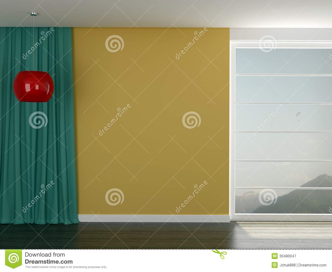 Room With A Bright Yellow Wall Stock Illustration - Illustration of ...