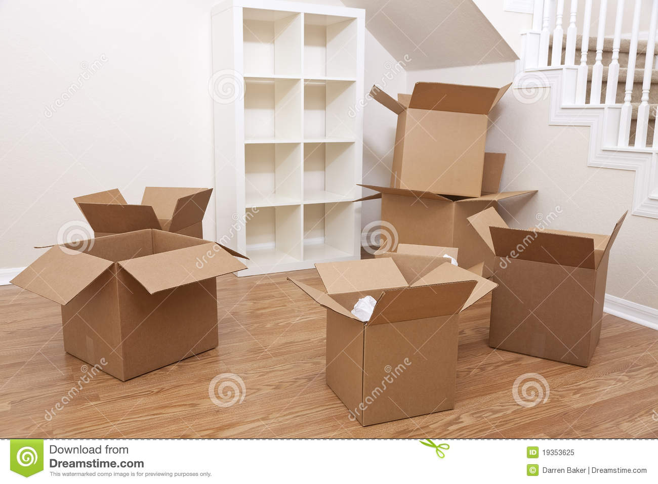 Room of cardboard boxes for moving house stock image When is the best time to move house