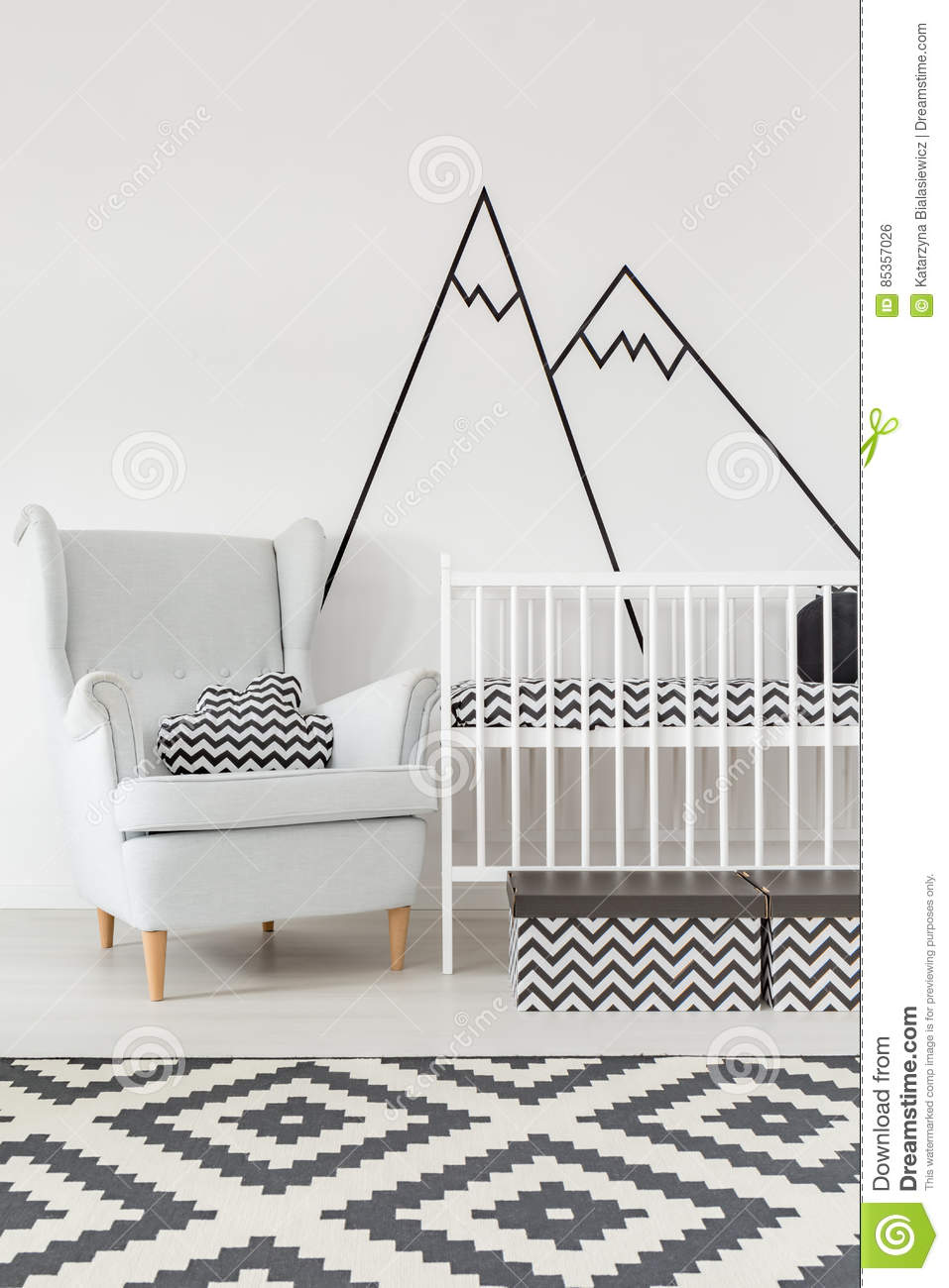 Room With Cot And Armchair Stock Photo Cartoondealer Com
