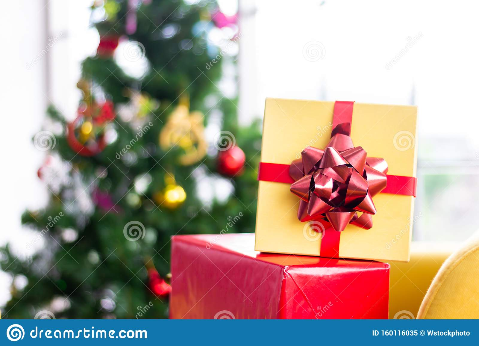 Room Decorated With Christmas Trees And A Gift Box With A Ribbon Ideas To Welcome The Upcoming Christmas Season Stock Image Image Of Gifts Decoration 160116035