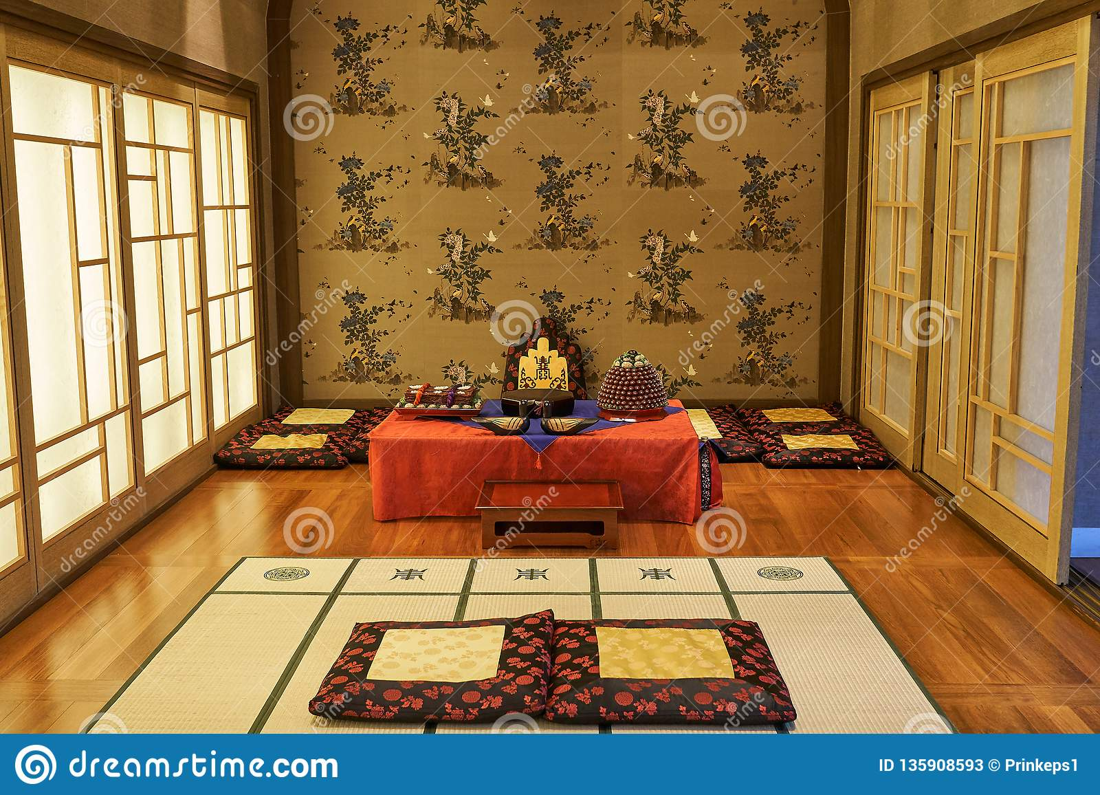 Room Designed With Korea S Traditional Decorations And Foods For Ceremony Of Newly Wed Couples And Their Families Stock Image Image Of Inside Design 135908593