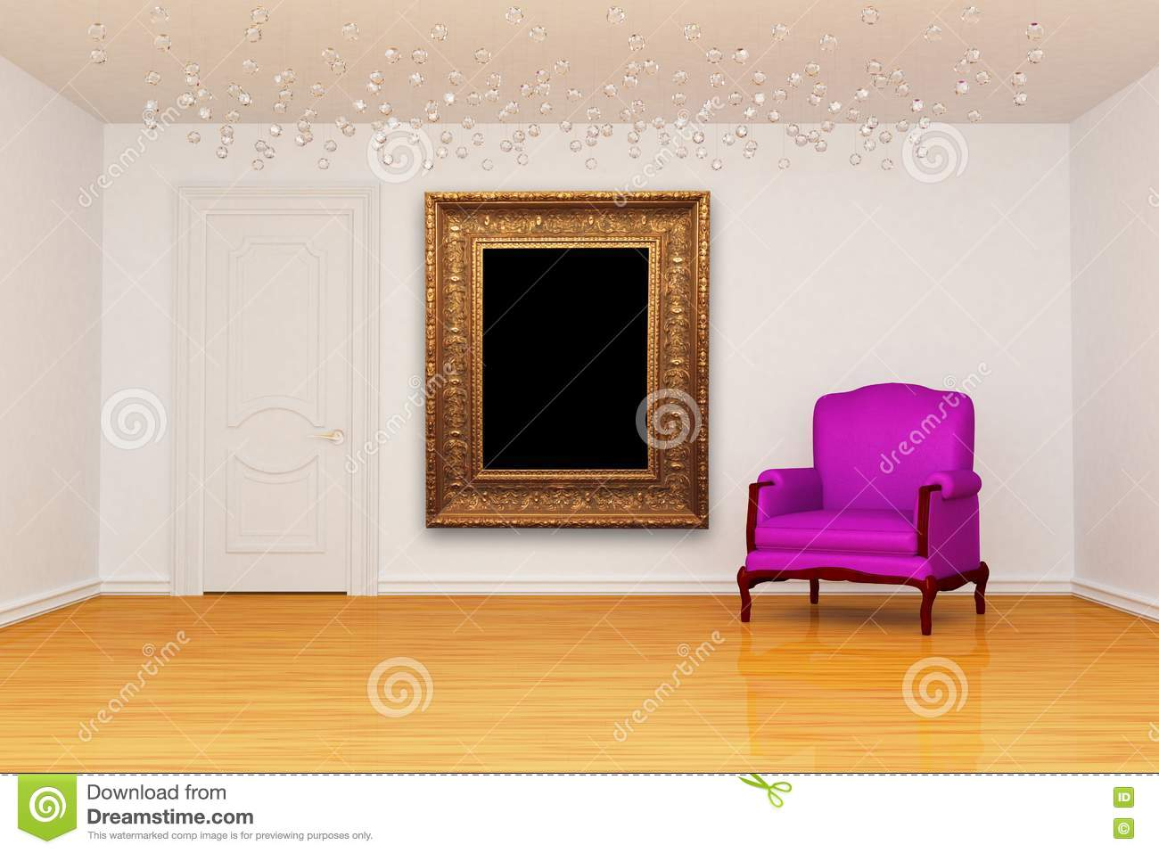 Room with door and chair with frame royalty free stock for Room door frame