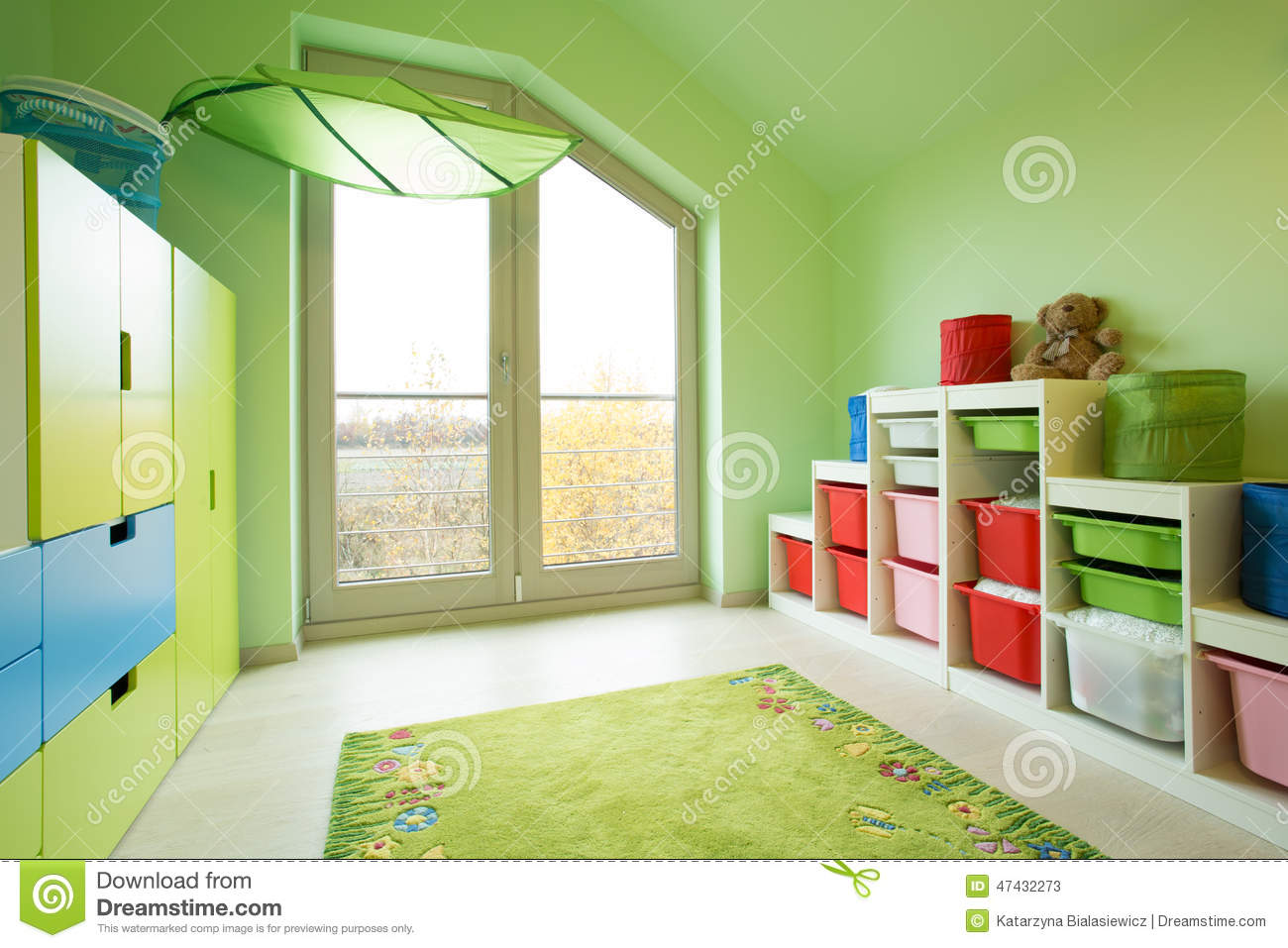 Room With Green Painted Walls Stock Image Image Of