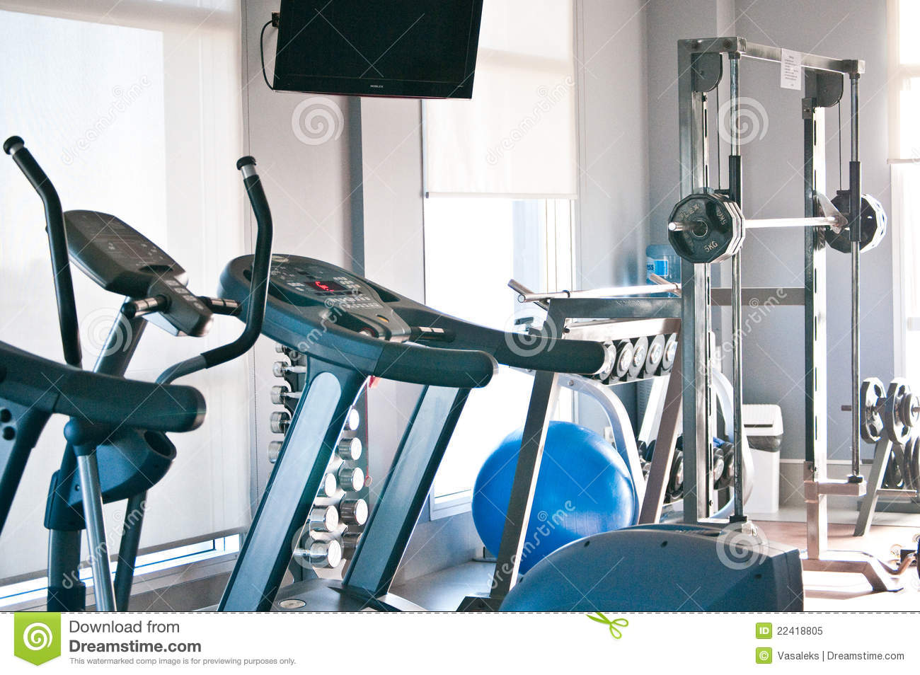Royalty free stock photo room with gym equipment image