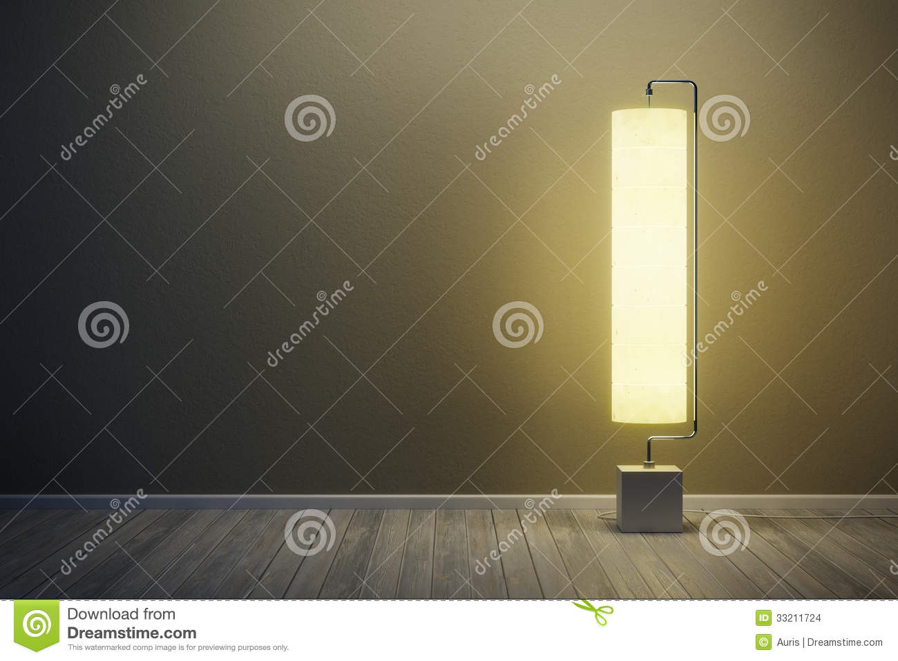 Room With Illuminated Floor Lamp Stock Images Image