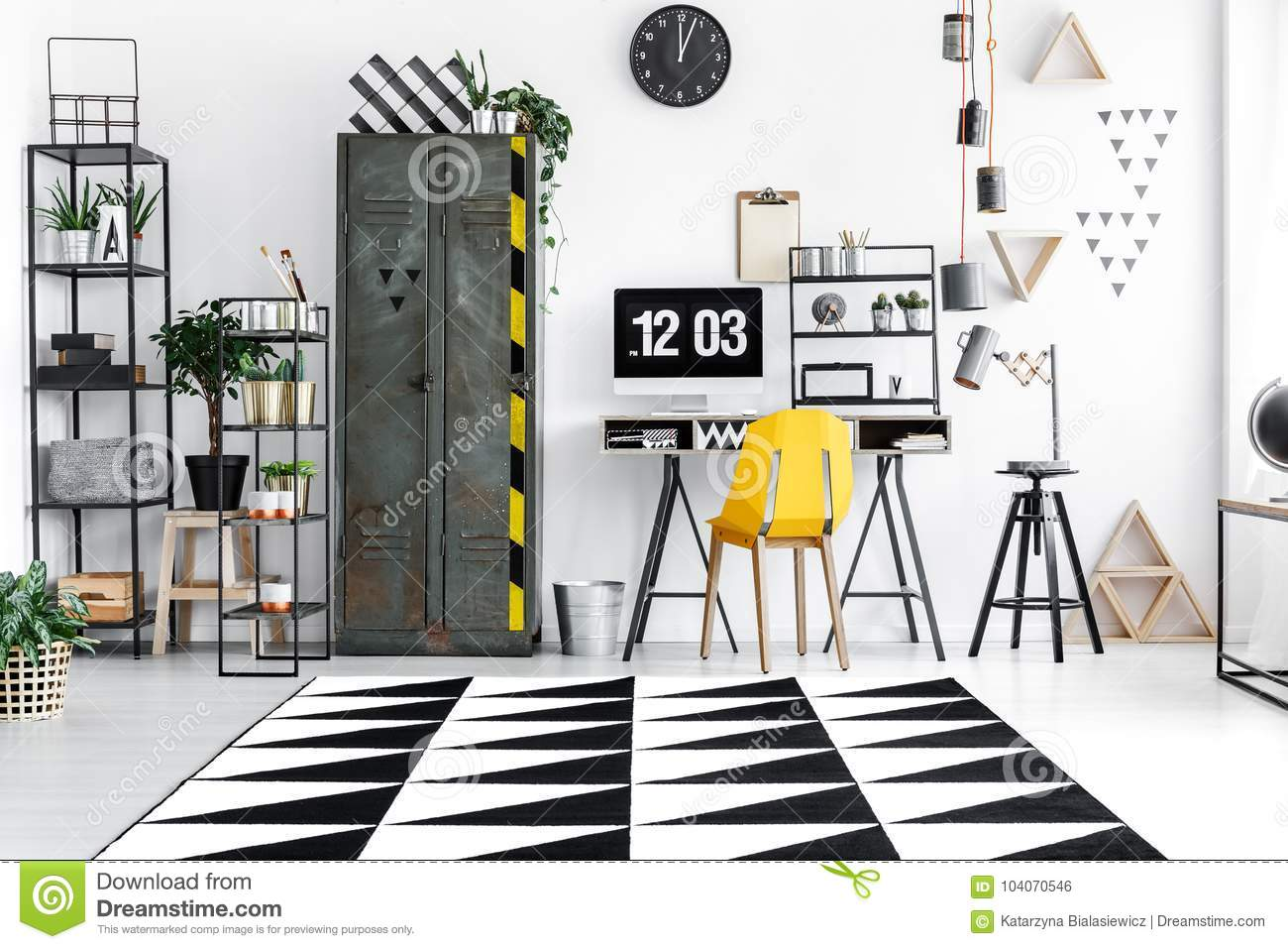 Room With Industrial Furniture Stock Photo   Image of pattern ...
