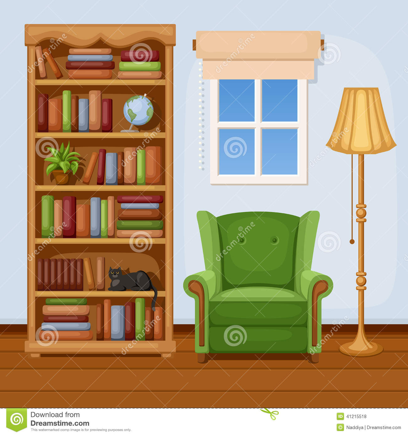 Room Interior With Bookcase And Armchair. Vector ...