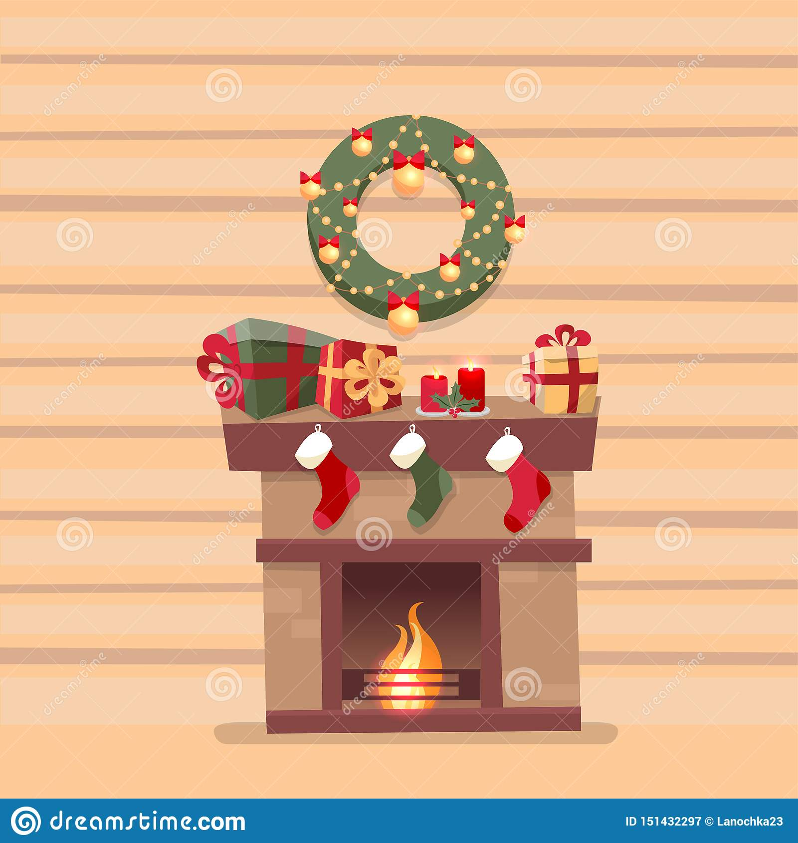 Room interior with Christmas fireplace with socks, decorations, gift boxes, candeles, socks and wreath on background of a wooden