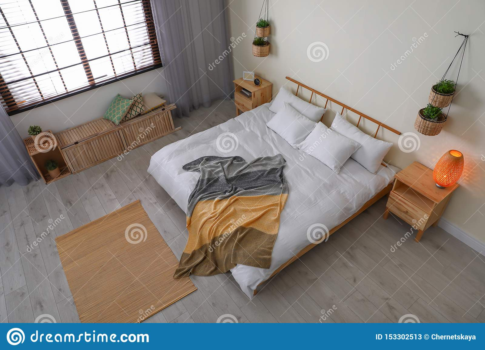 Room Interior With Comfortable Bed View Through Camera Stock Image Image Of Monitoring Bedroom 153302513