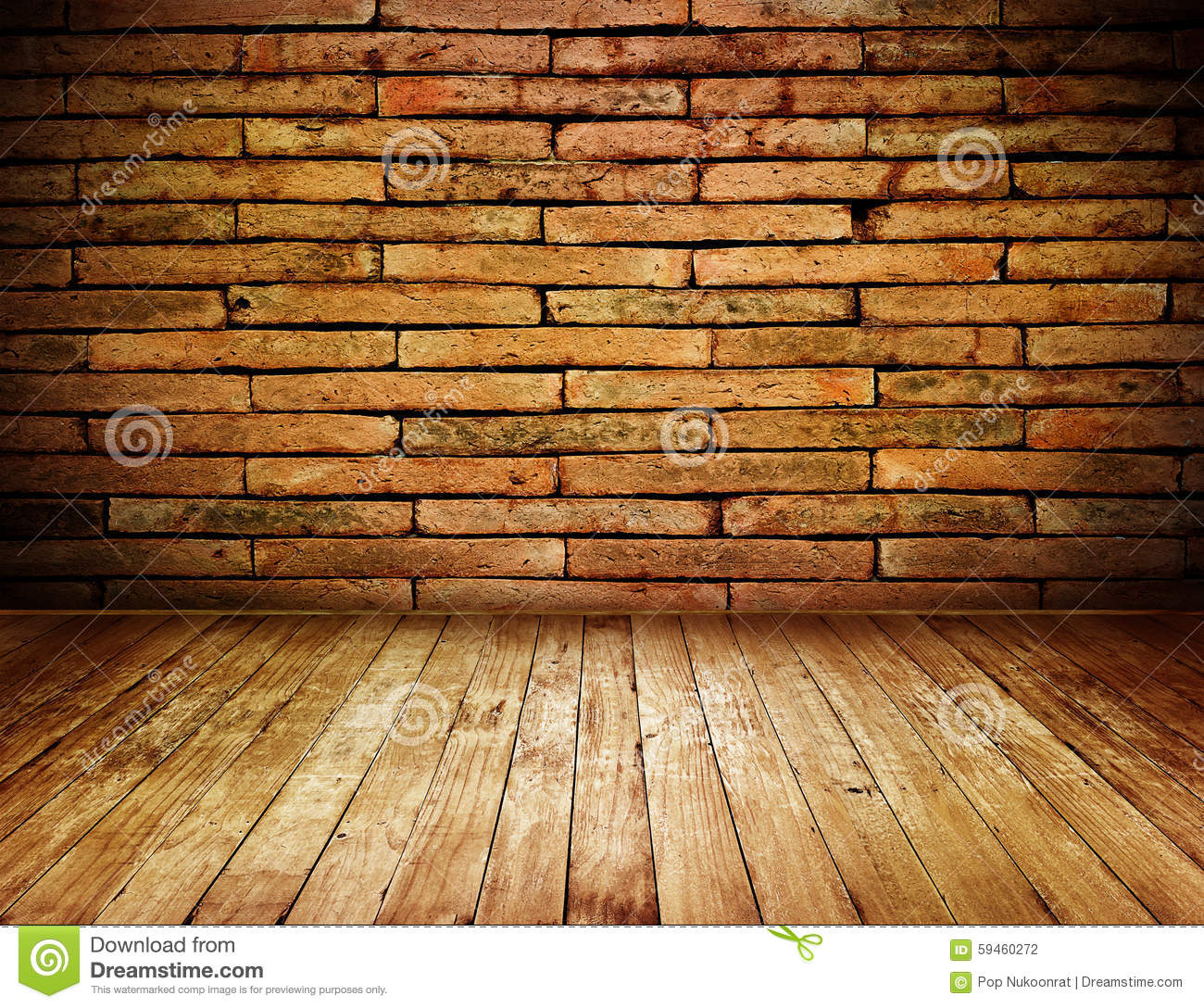 Z Brick Flooring : Room interior grunge vintage with red brick wall and wood