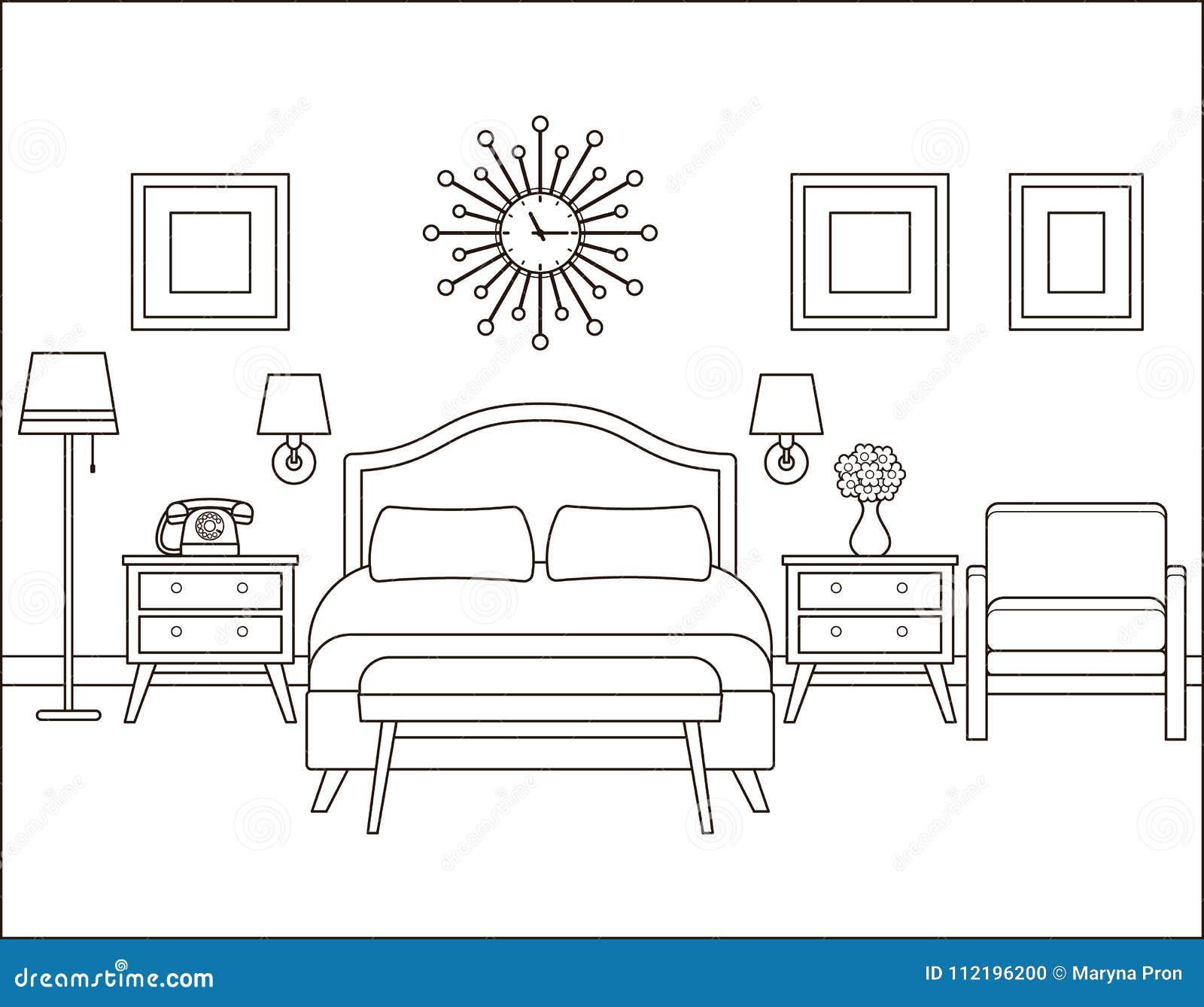 Bedroom Interior Hotel Room In Retro Design Vector