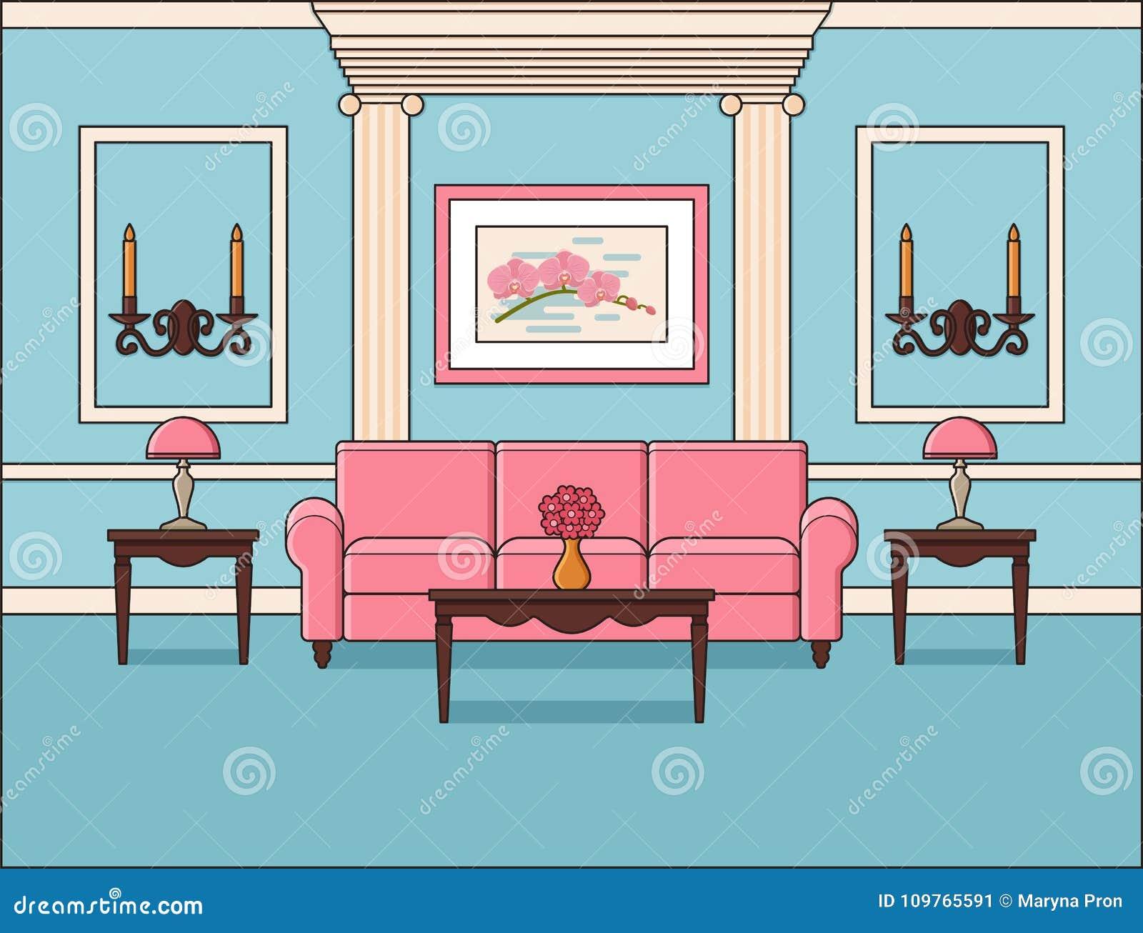 Living Room Flat Interior In Line Art Vector Illustration