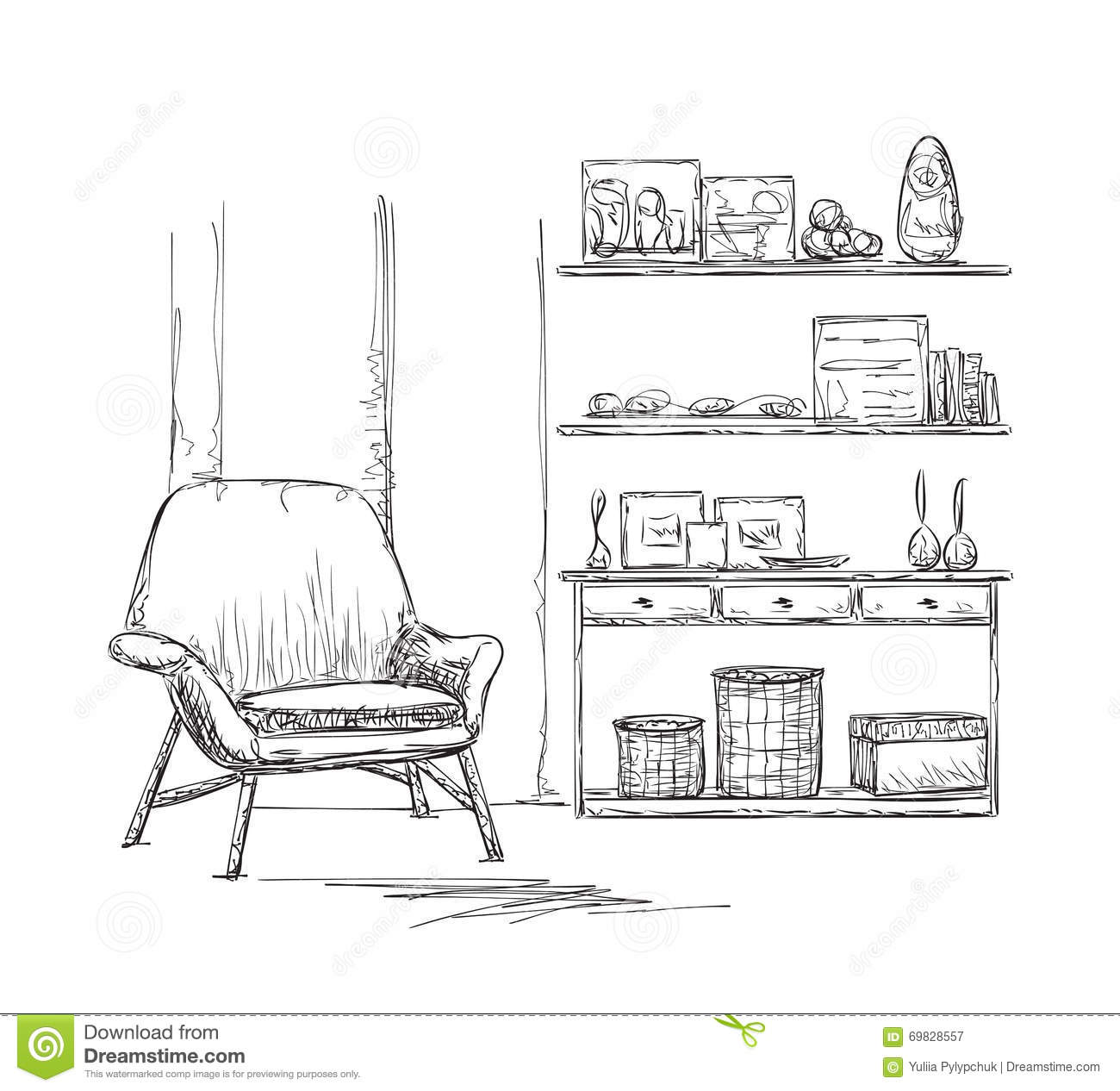Room Interior Sketch. Chair And Cupboard Stock Vector